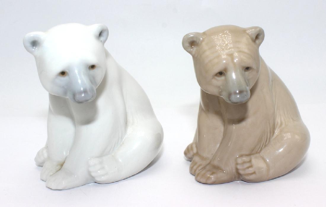 Pair of Lladro Porcelain Seated Bears Figure