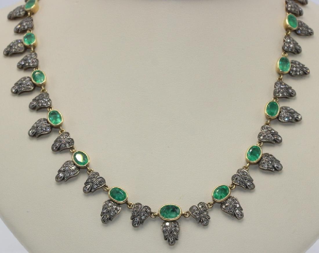 Indian Gilt Gold, Emerald & Diamond Necklace