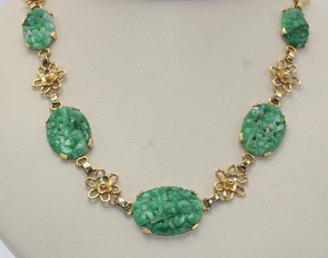 14Kt YG & Jade Necklace