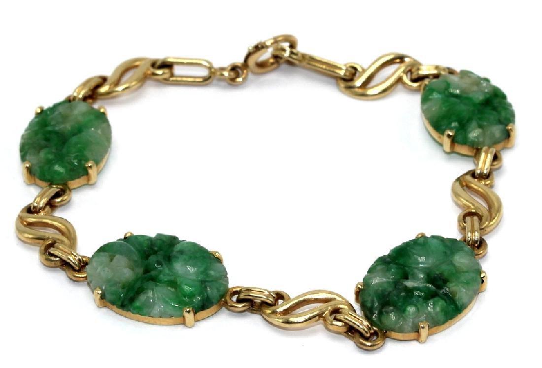 14Kt YG & Jade Bracelet