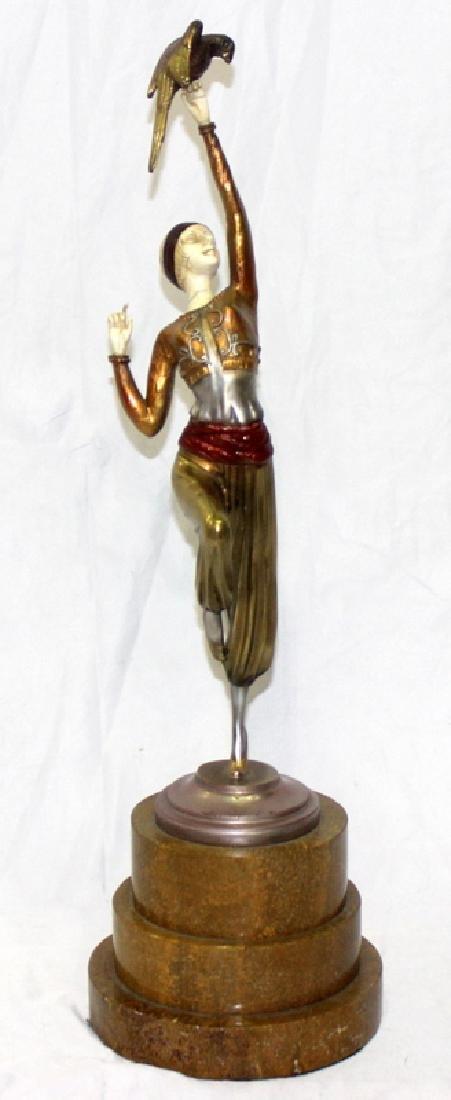 Paul Philippe Bronze Polychrome Inset Figure