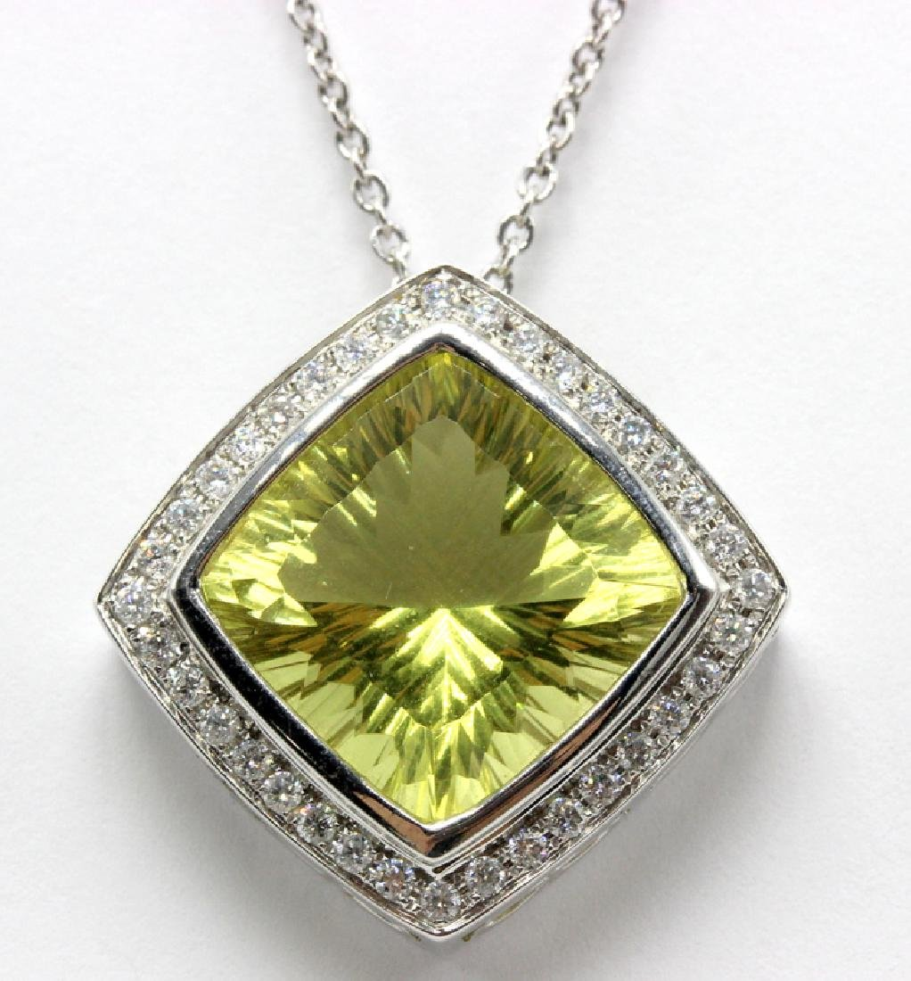 18Kt WG, 0.46ct. Diamond & 10.15ct. Lime Quartz Pendant