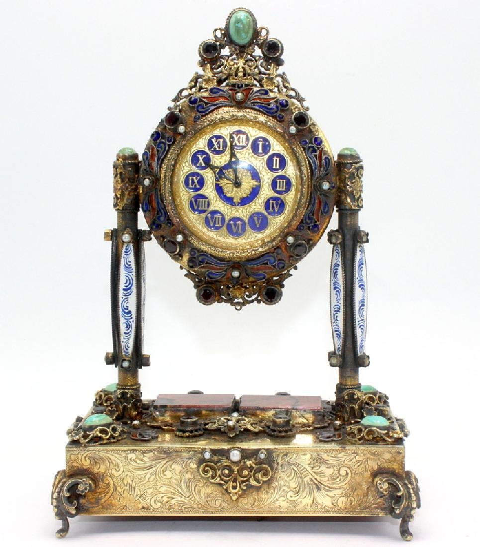 Gold Gilt, Silver Swiss Reuge Music Box Enamel Clock