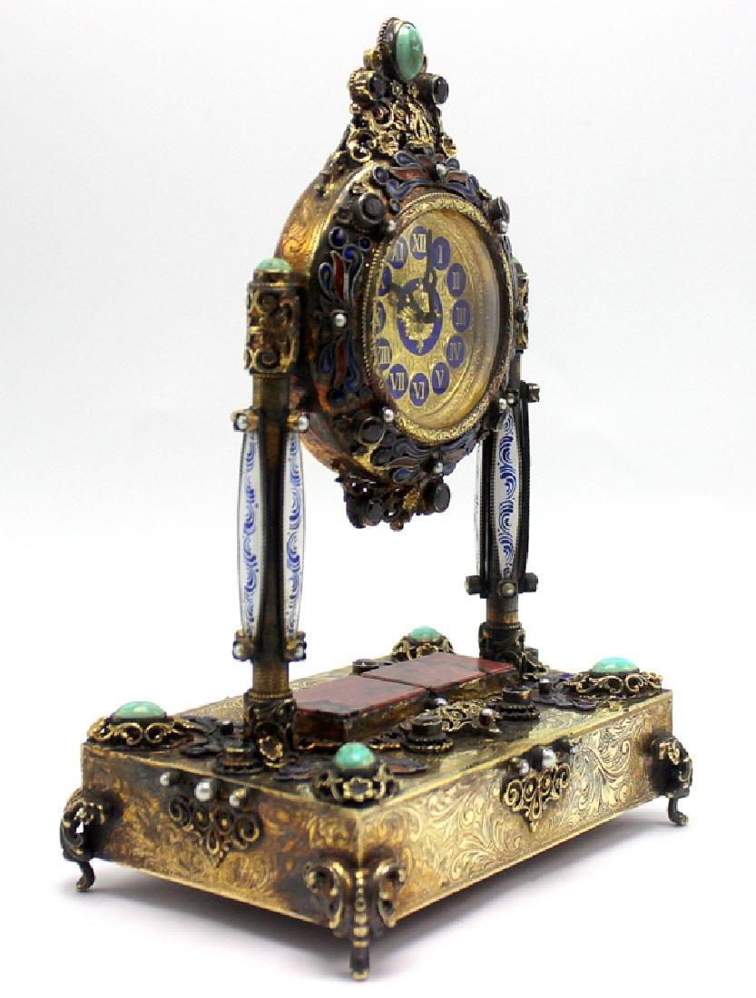 Gold Gilt, Silver Swiss Reuge Music Box Enamel Clock - 2