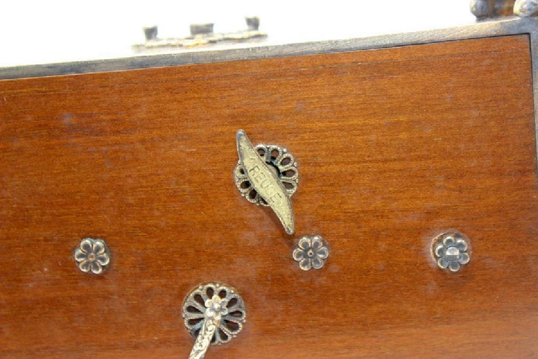 Gold Gilt, Silver Swiss Reuge Music Box Enamel Clock - 5