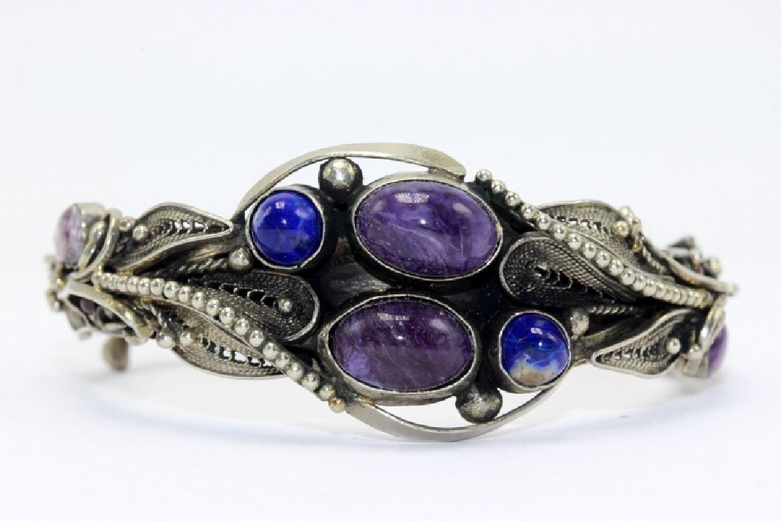 Russian Lapis Ametyst & Filigree Bangle Bracelet