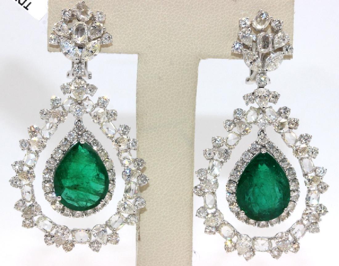 18Kt WG, 12.99ct. Diamond & 13.88ct. Emerald Earrings