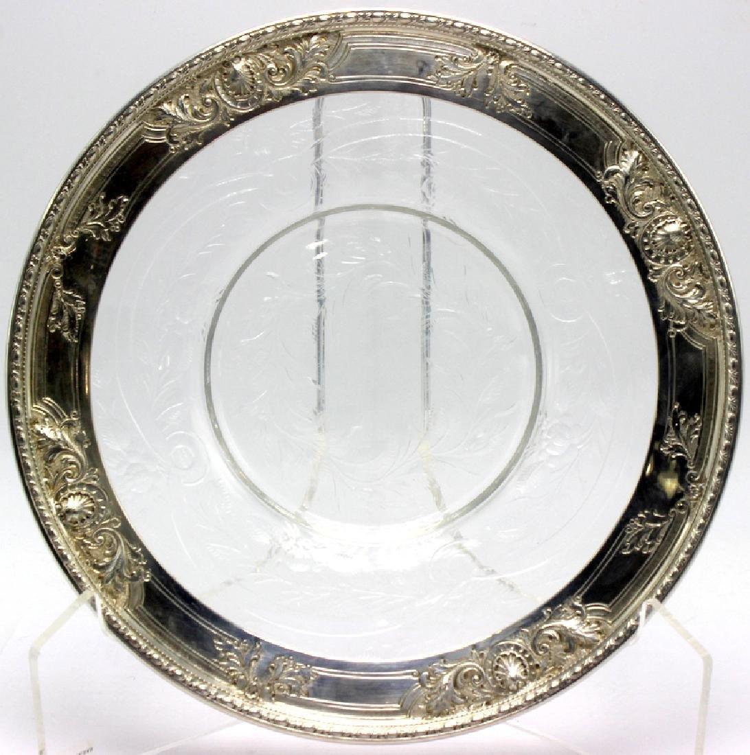 "(8) Watson Co. ""Navarre"" Sterling Silver & Glass Plates"