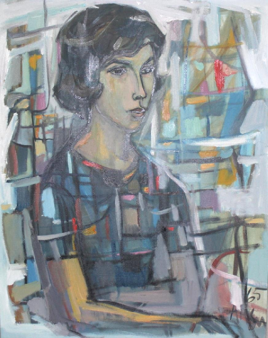 Mid-Century Oil on Canvas Portrait of Woman