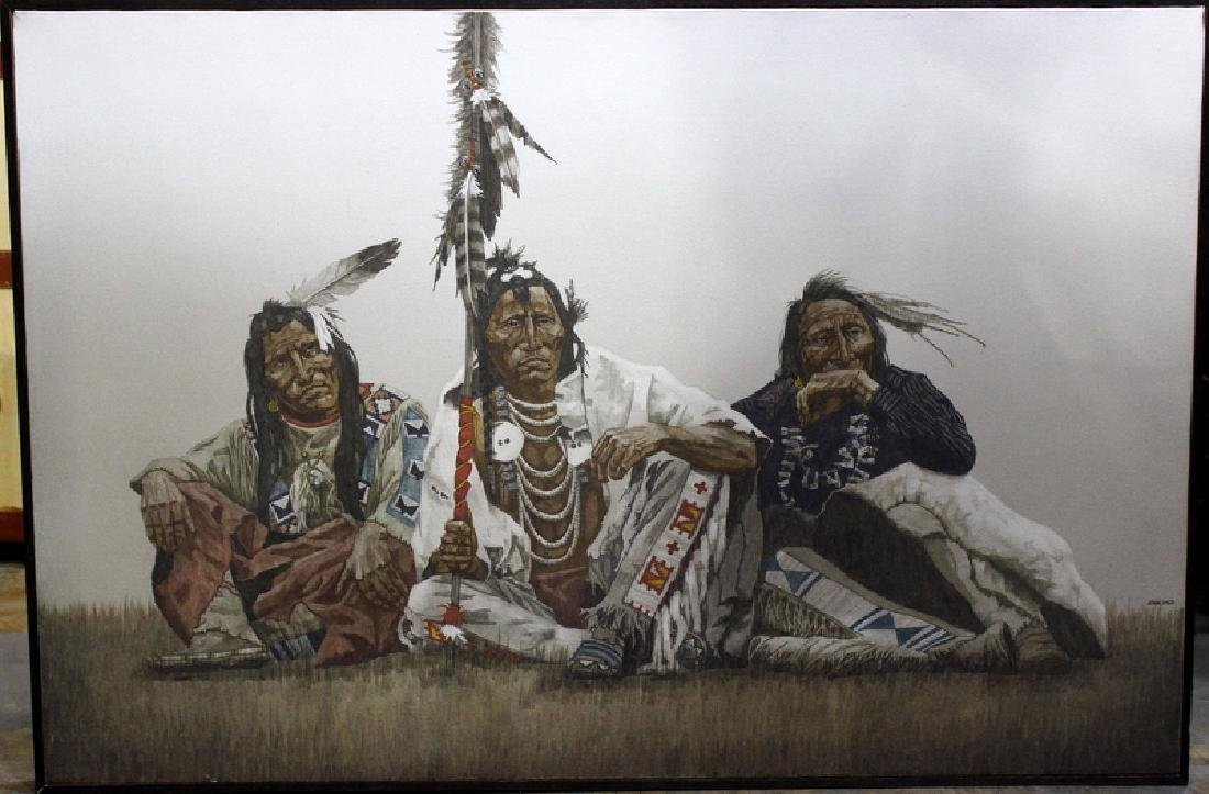 John Pace Native Americans Seated Oil on Canvas - 2