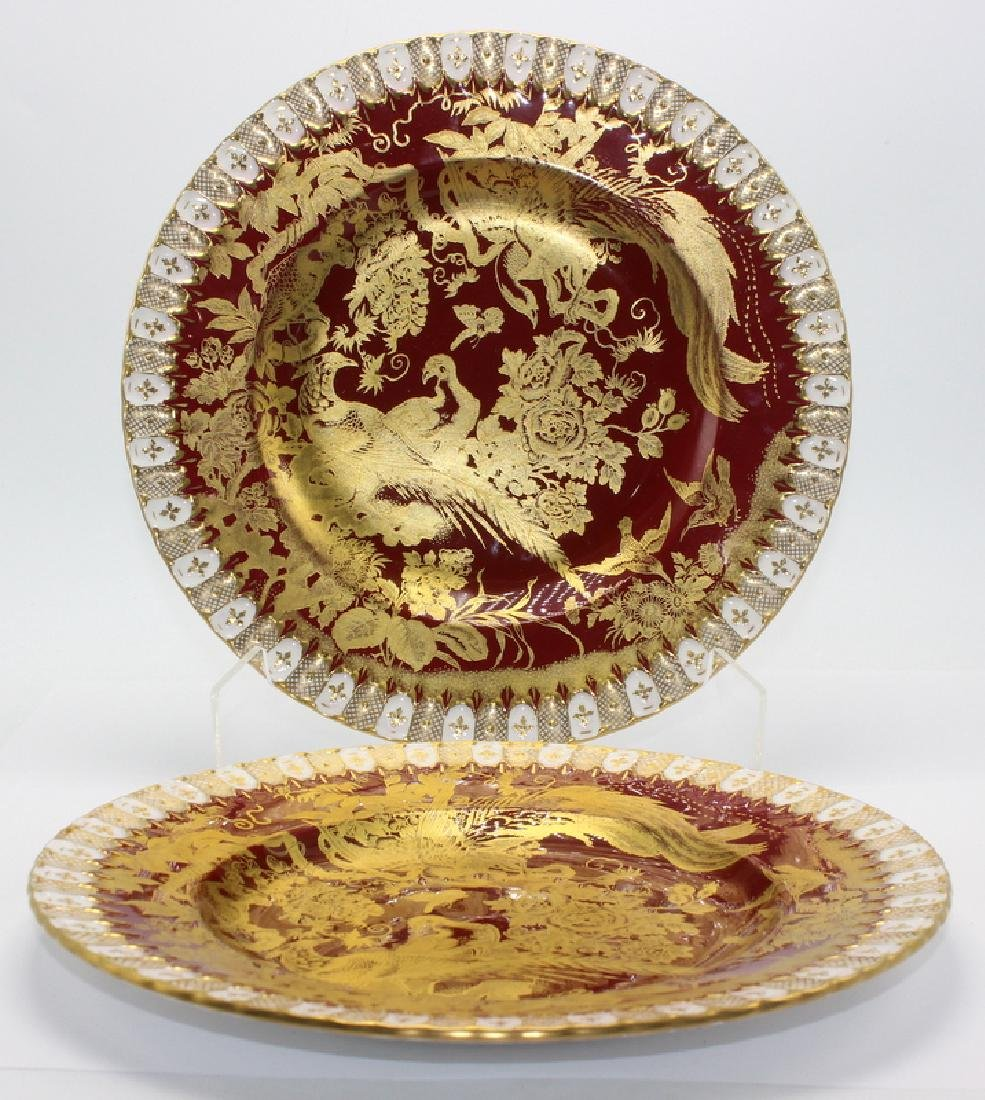 2 pc. Royal Crown Derby Paradise Maroon Plates