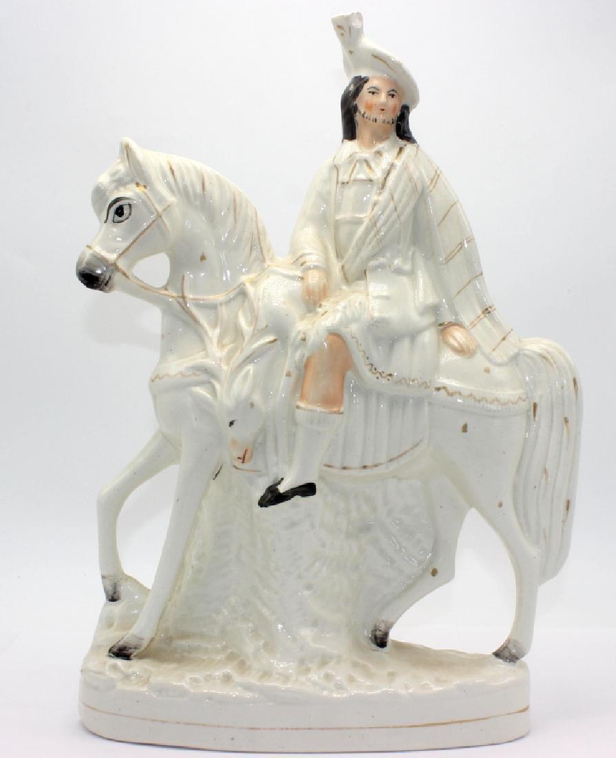Staffordshire Porcelain Man on Horseback Figure