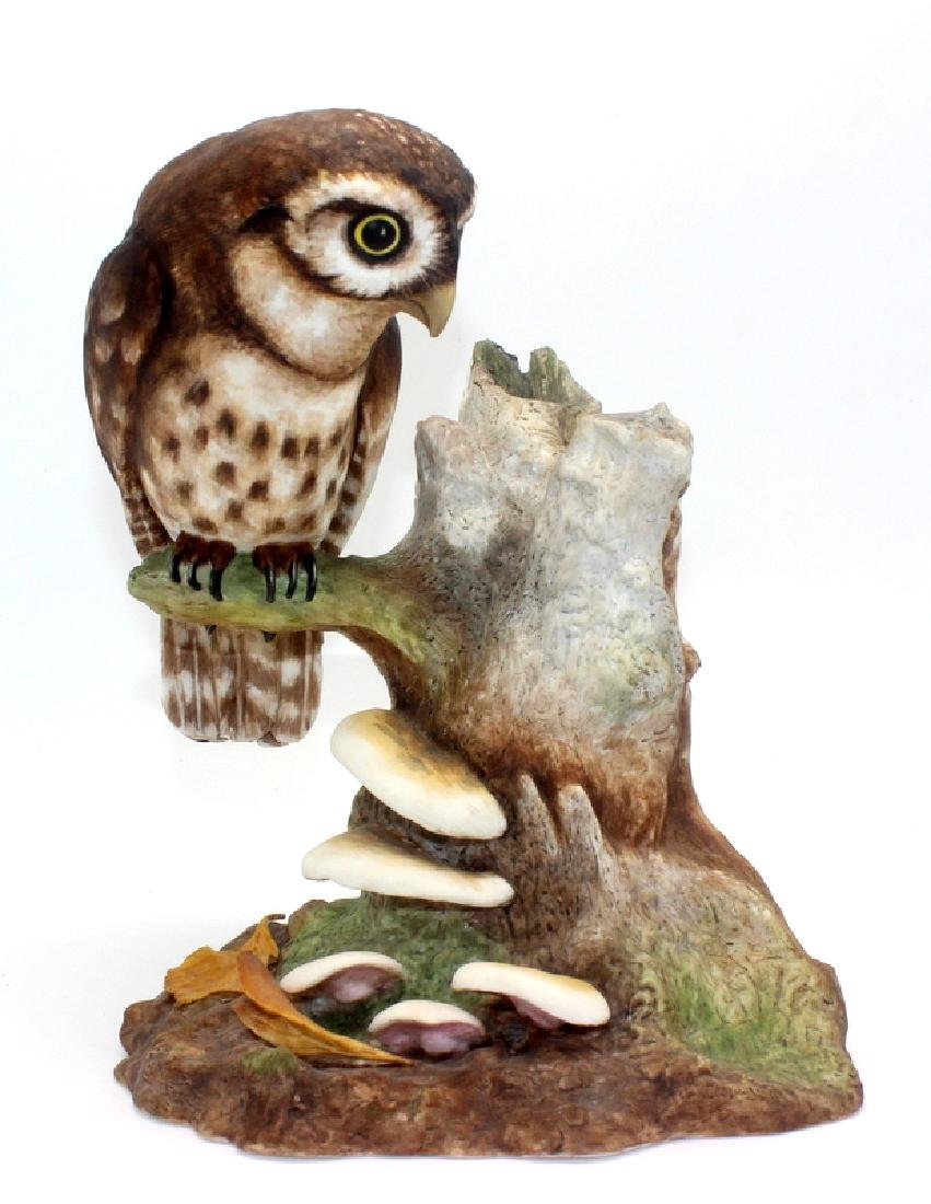 Boehm Owl Perched on Stump