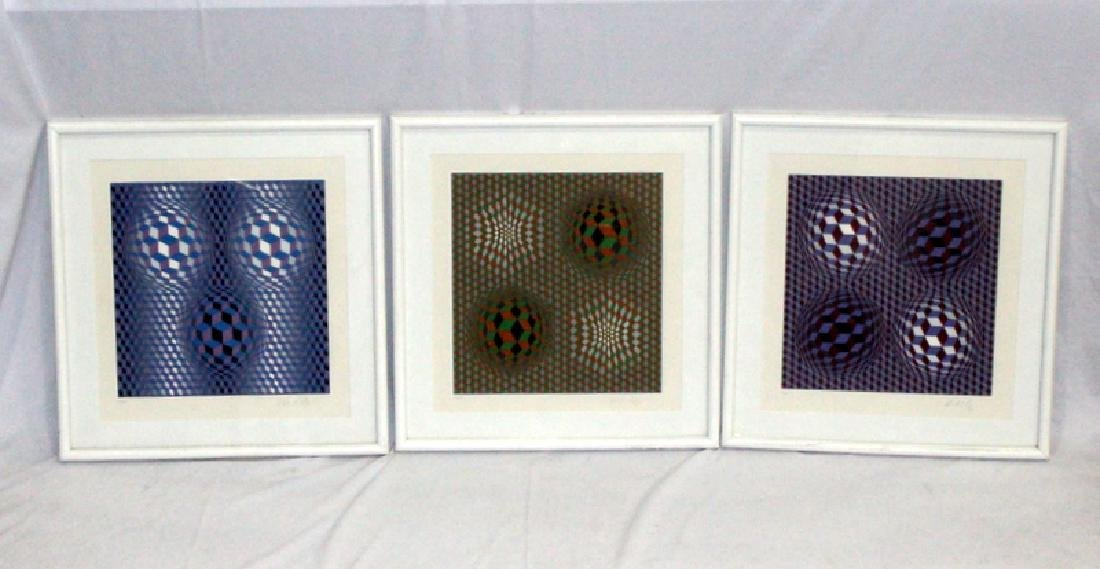 (3) Victor Vasarely Lithographs