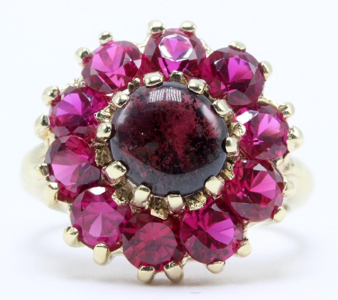 14Kt YG, Ruby & Star Sapphire Ring