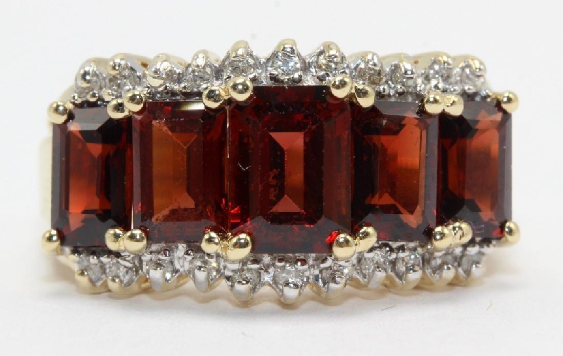14Kt YG, Diamond & Garnet Ring
