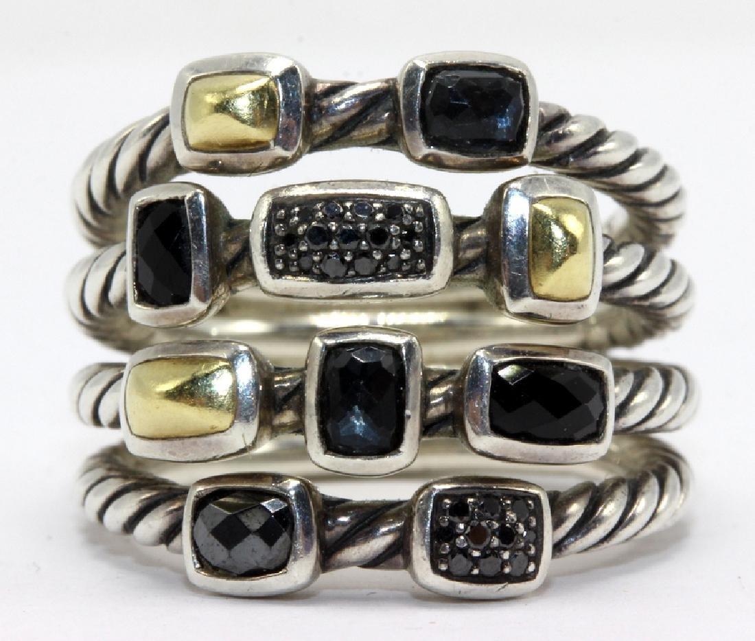 David Yurman 18Kt YG, Sterling Silver, Onyx & Precious