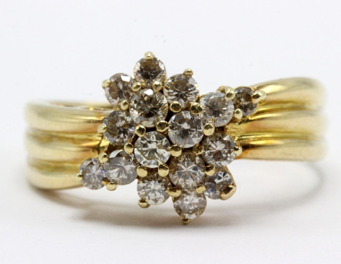 14Kt YG & 0.90ct. Diamond Cluster Ring