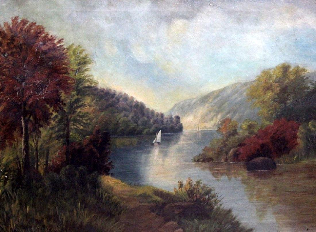 Antique Oil Painting of a River Scene