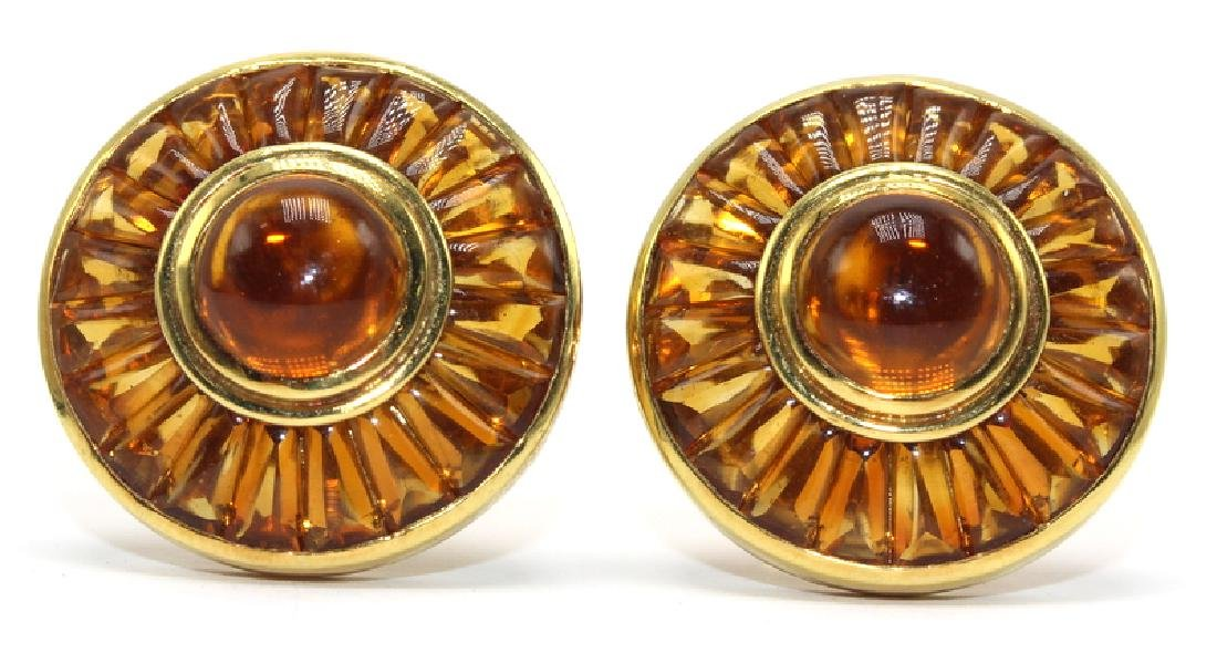 Contemporary Yellow Gold & Citrine Earrings