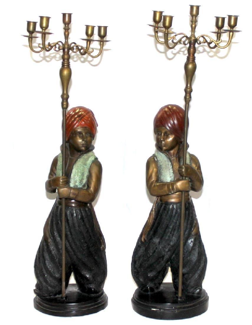 Polychrome Figural Candelabras