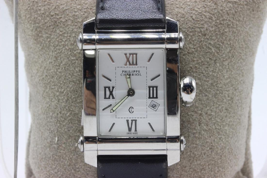 Philippe Charriol SS & Leather Men's Watch