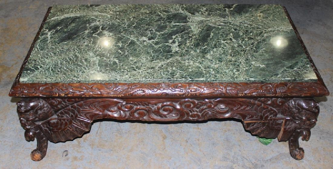 Antique Chinese Hand Carved Marble Top Coffee Table