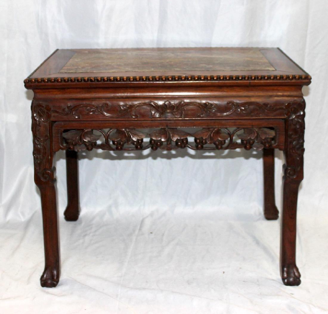 Antique Chinese Teakwood & Marble Inset Table