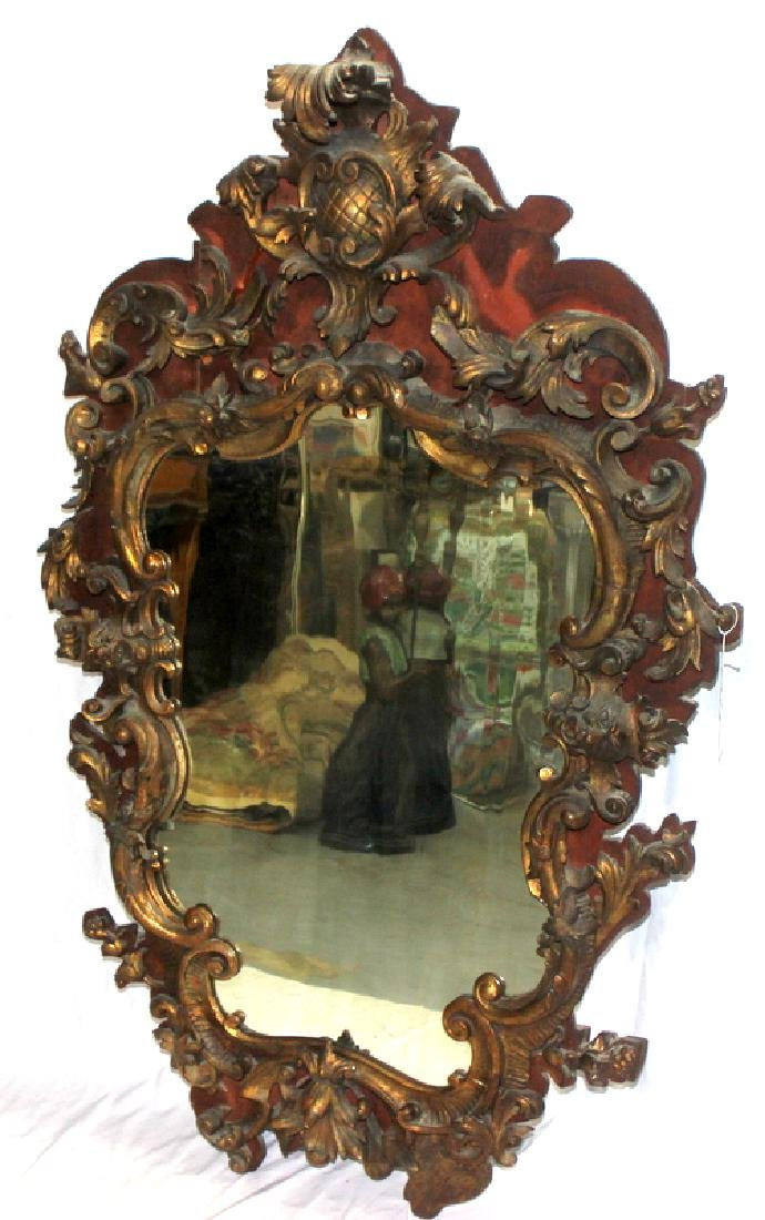 Antique Hand Carved Hanging Mirror