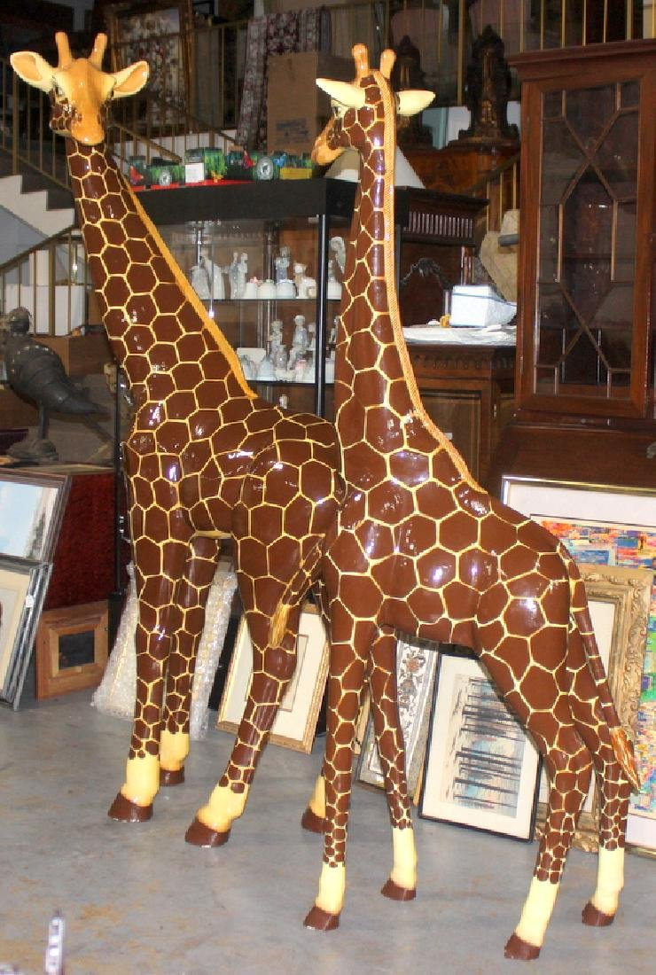 Pair of Hand Painted Giraffes