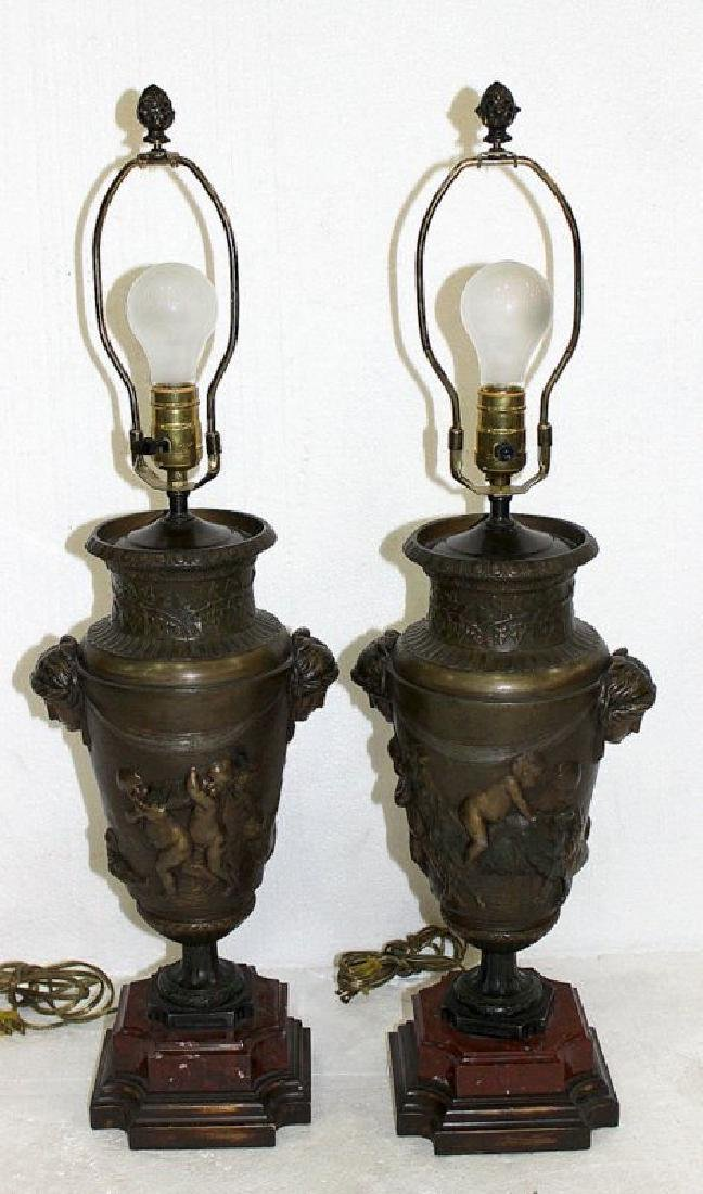 Pair of Antique French Figural Bronze Lamps