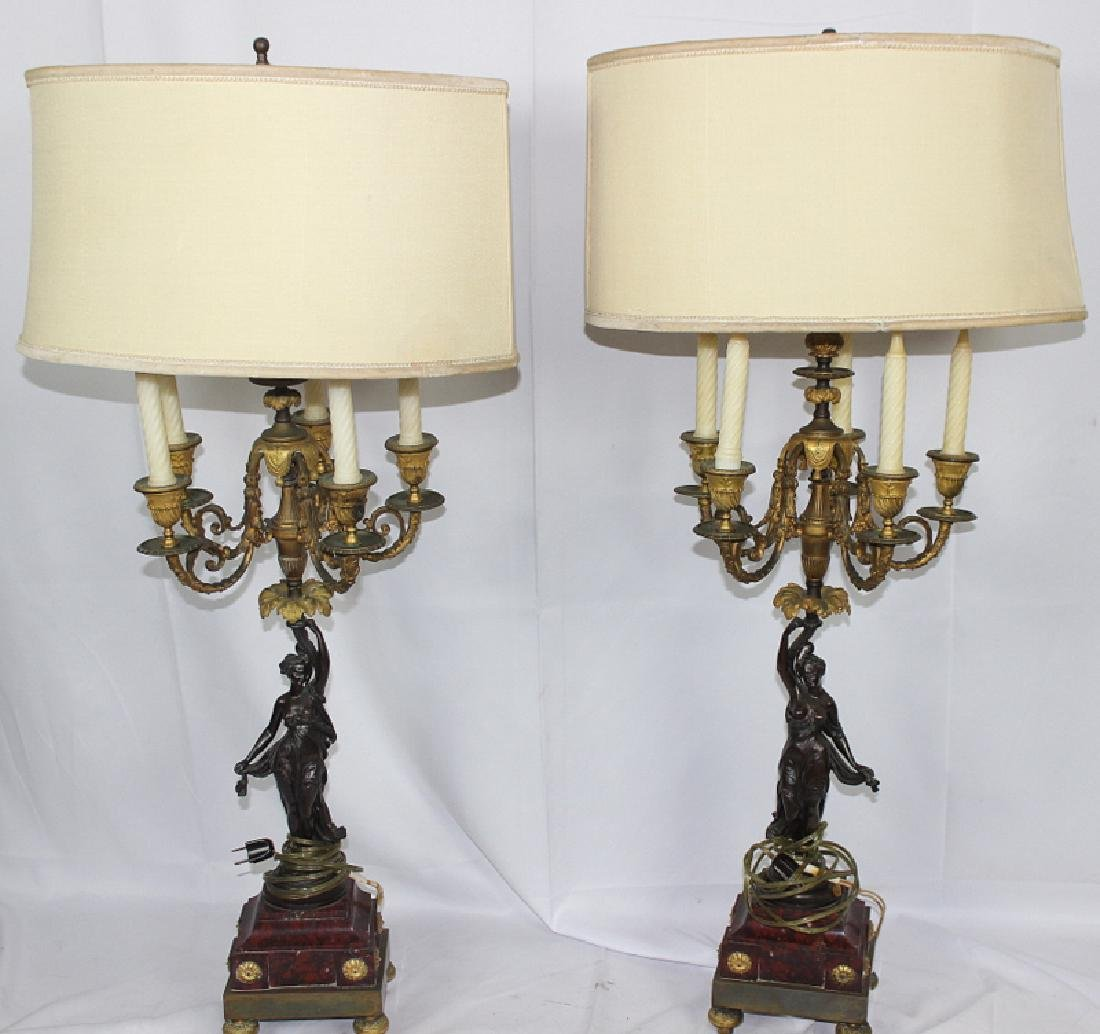 Pair of Antique Mounted Bronze & Dore Bronze Candelabra