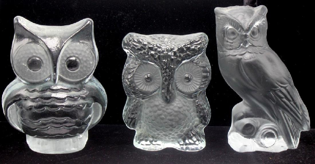 3 pc. Viking Art Glass Owl Figurines