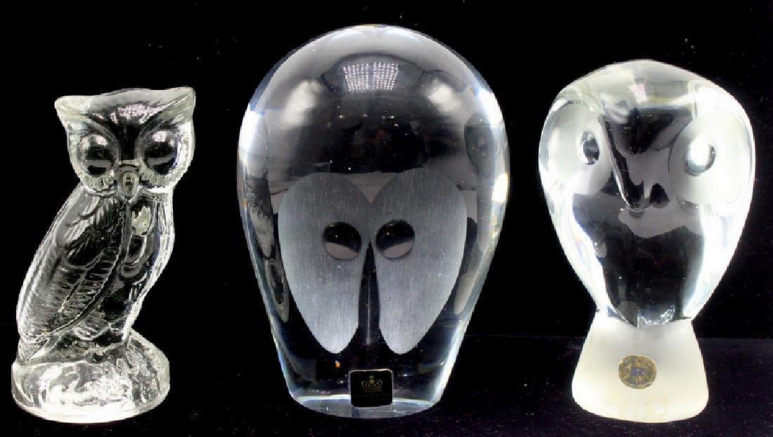 11 pc. Swedish Art Glass Owl Paperweights.