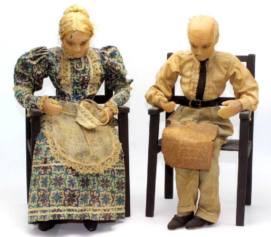 Pair of Antique Wax Figurines