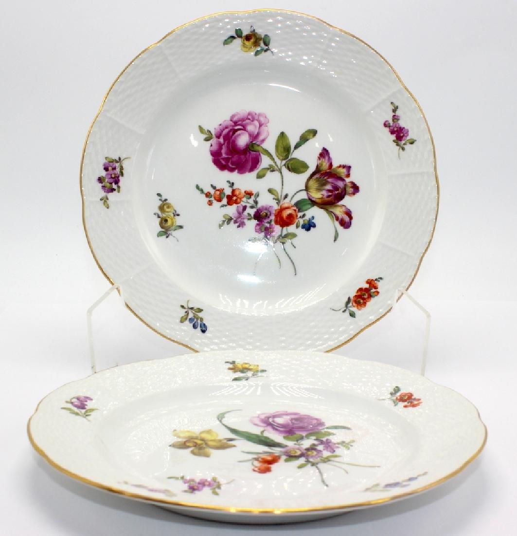 (5) KPM 18th C. Berlin Porcelain Floral Plates