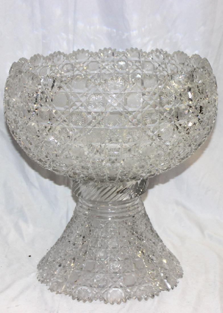Antique American Cut Crystal Punch Bowl