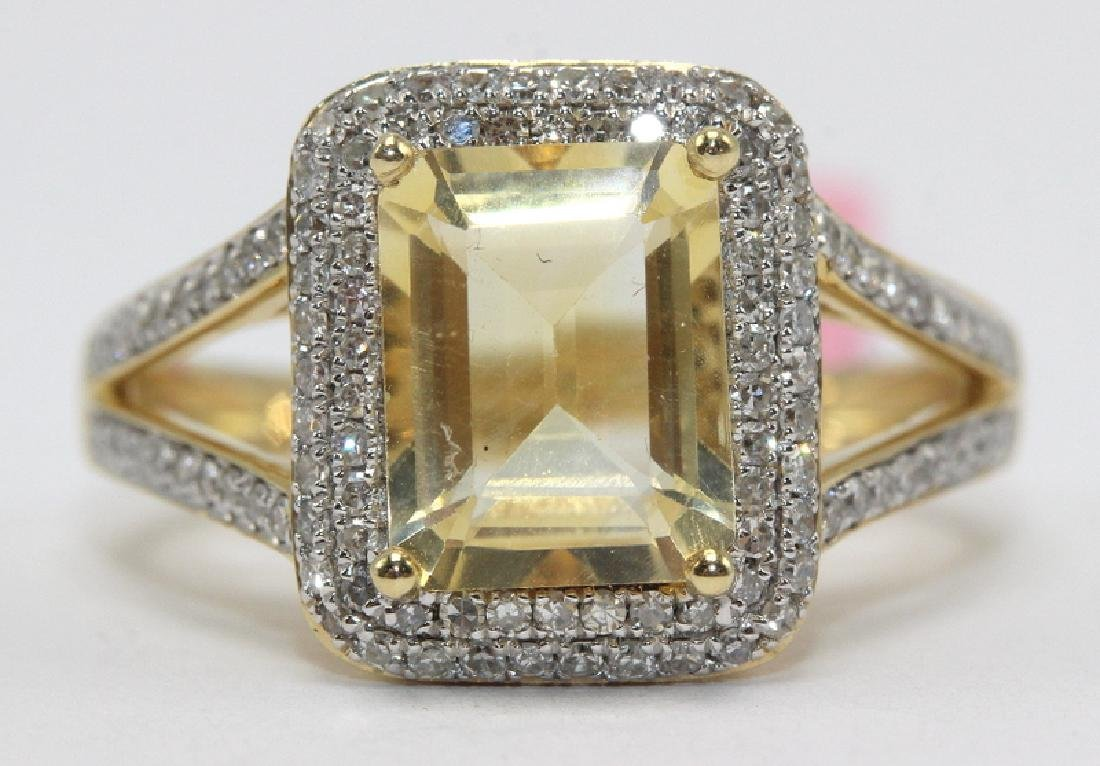 14Kt YG, 0.56ct. Diamond & 2.12ct. Citrine Ring