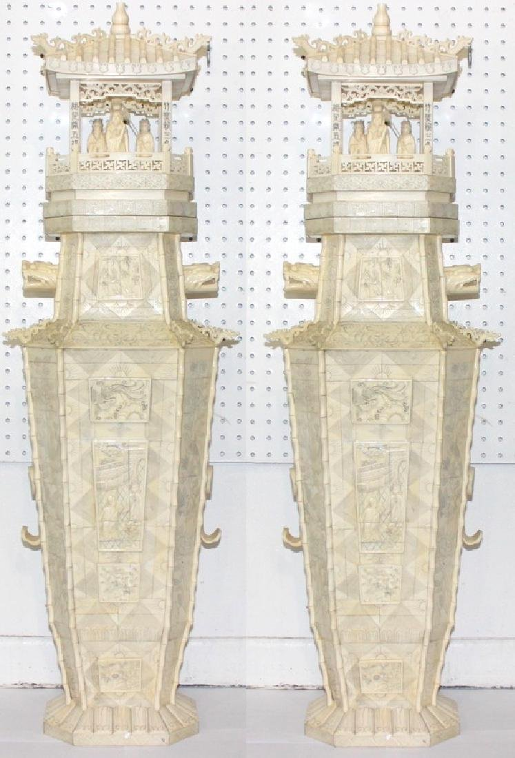 Pair of Chinese Hand Carved Bone Figural Temple Urns