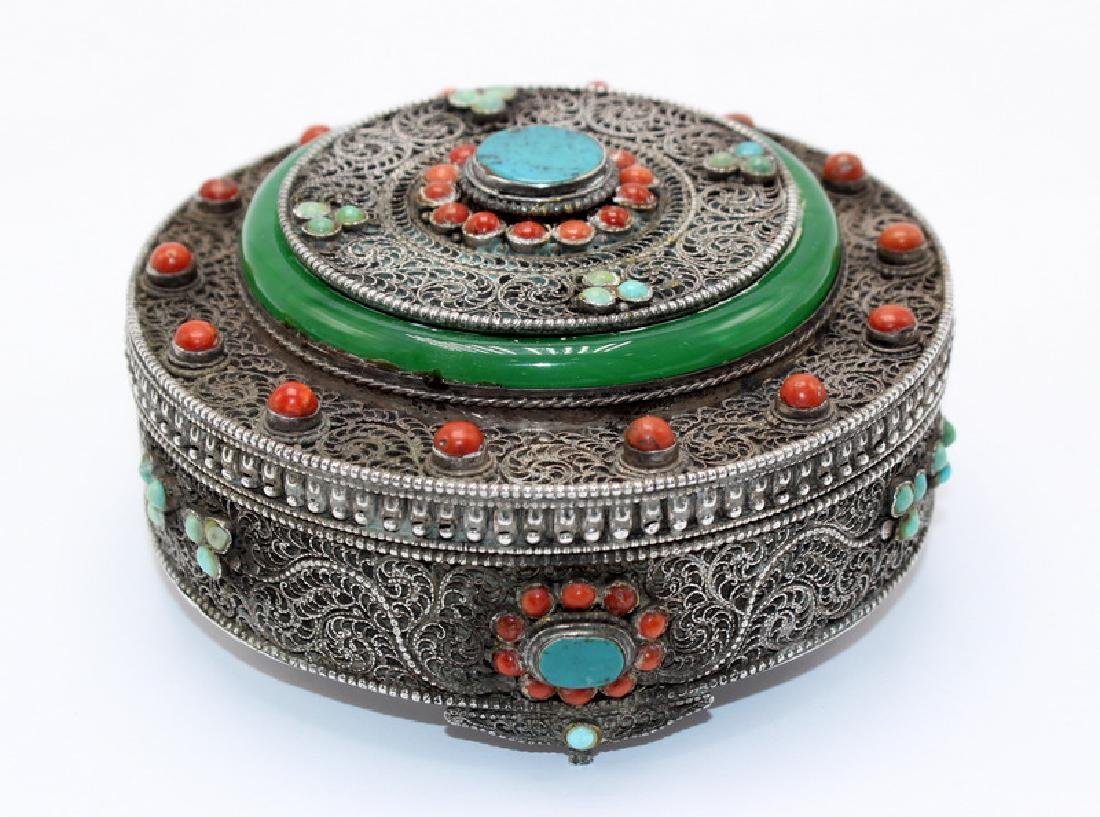 Mongolian Silver & Precious Stone Round Box