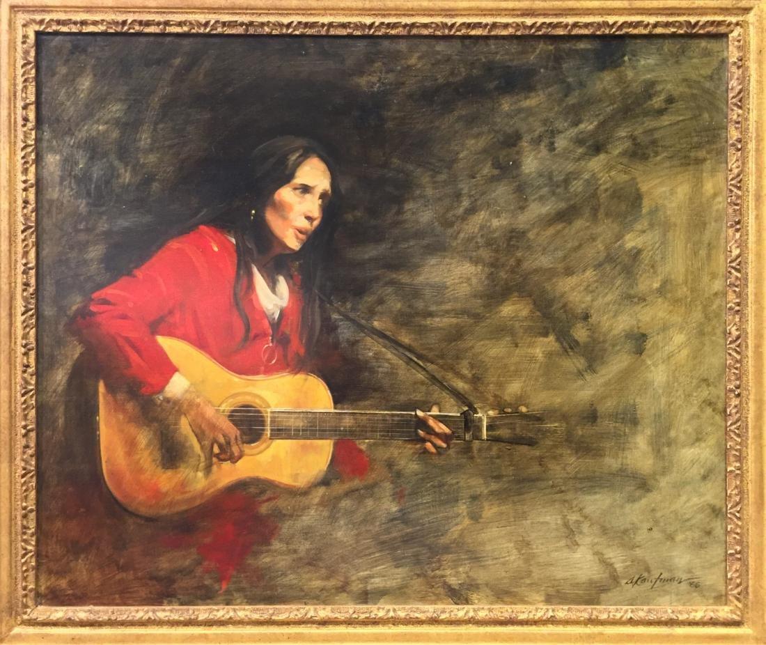 "Stuart Kaufman (1926-2008) ""Joan Baez"" Oil on Canvas"