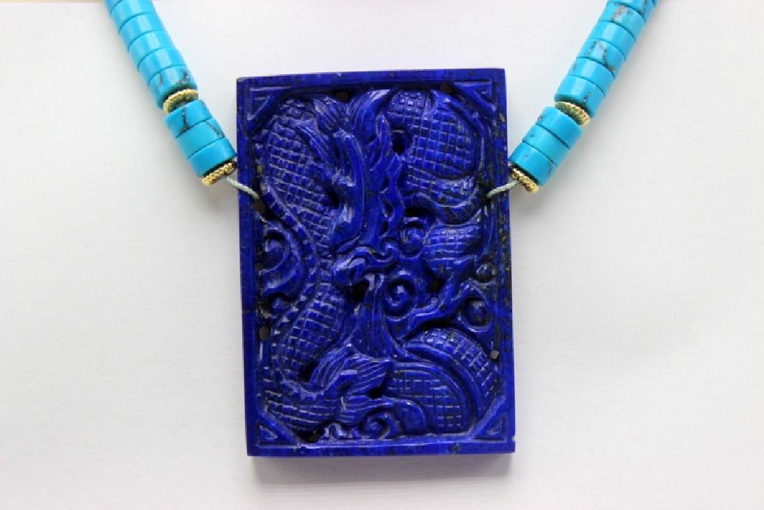 14Kt YG, Lapis Lazuli & Turquoise Necklace