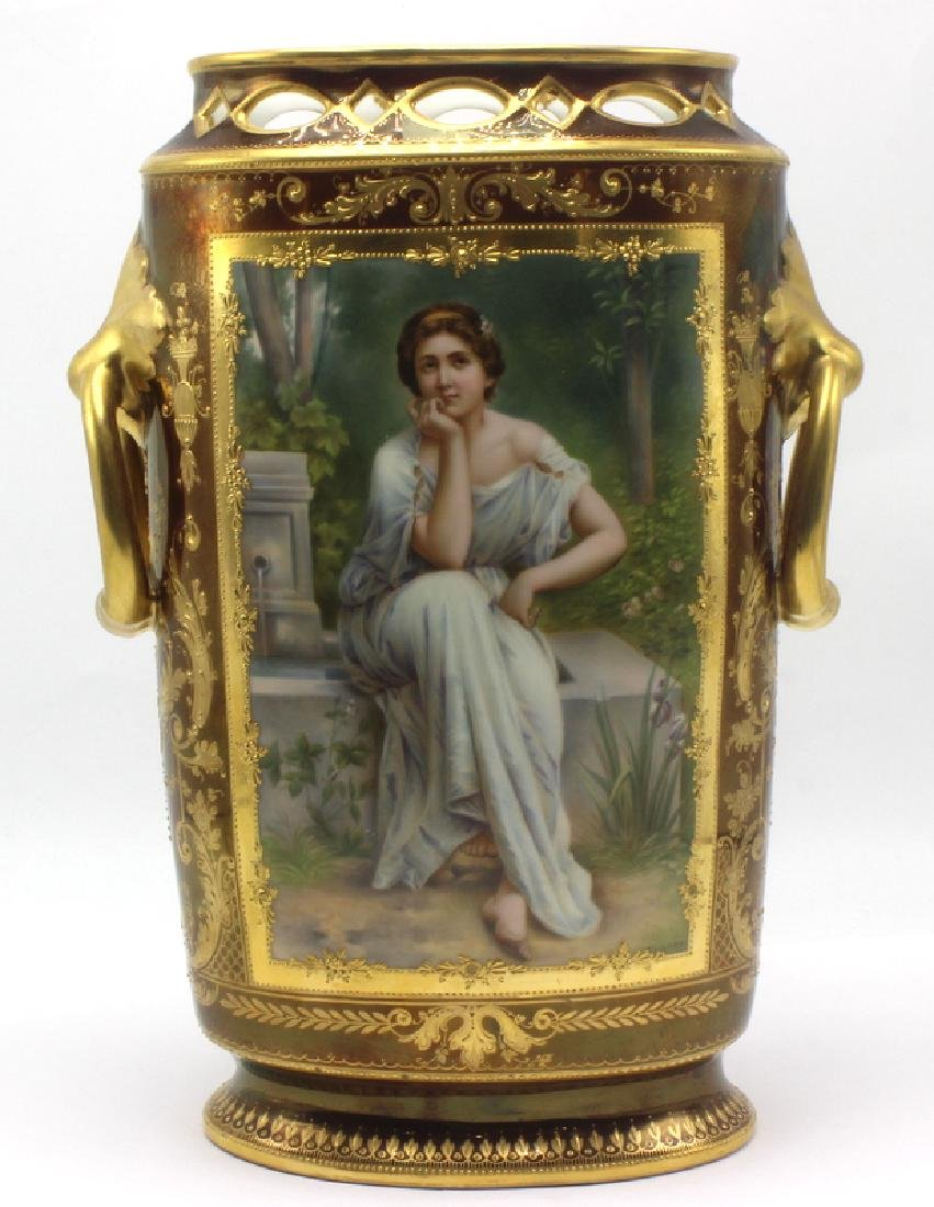 Antique Royal Vienna Lusterware Portrait Vase