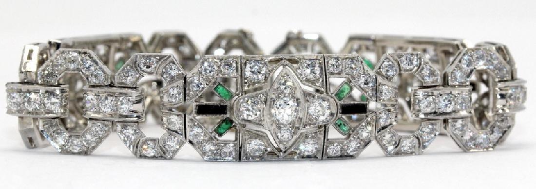 Exquisite Art Deco Platinum Diamond Emerald & Onyx