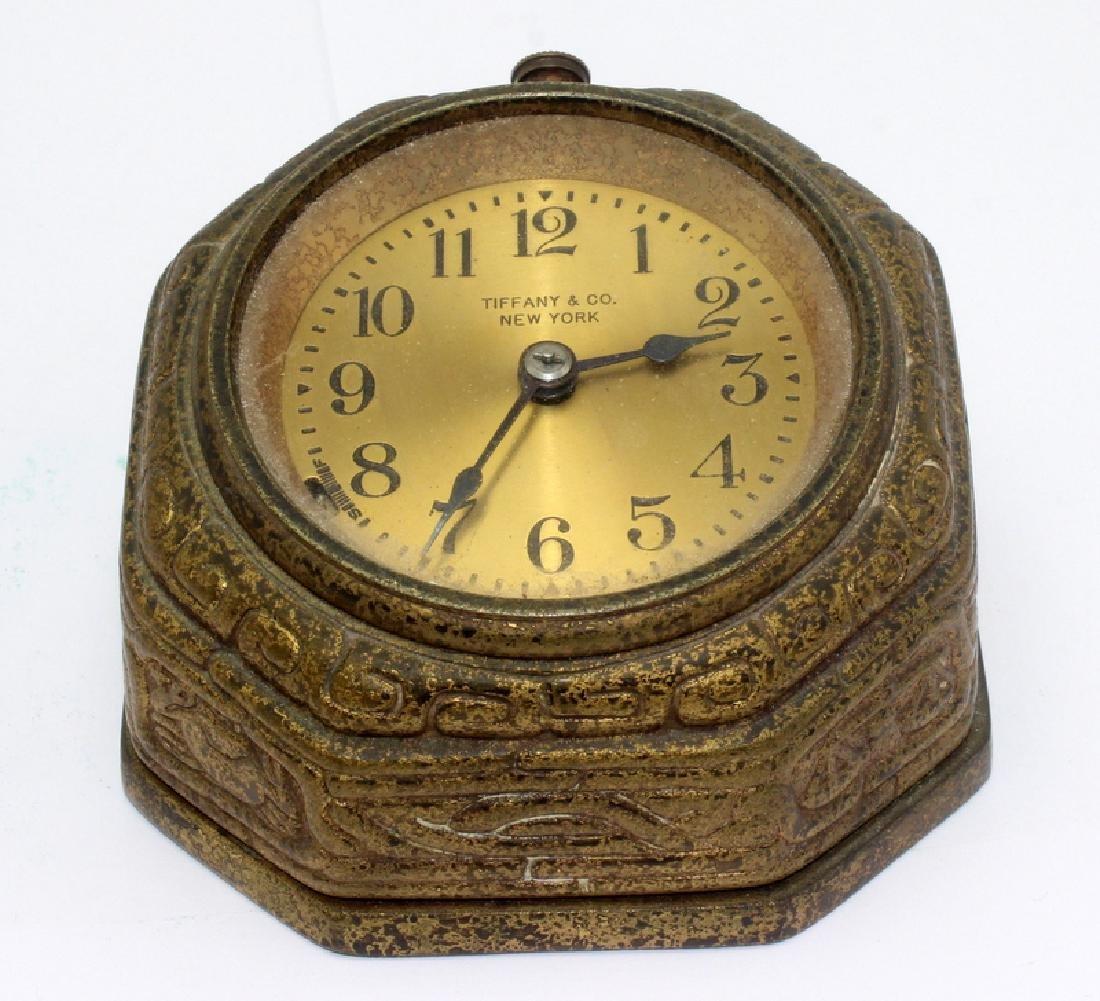 Tiffany Studios Spanish Bronze Desk Clock