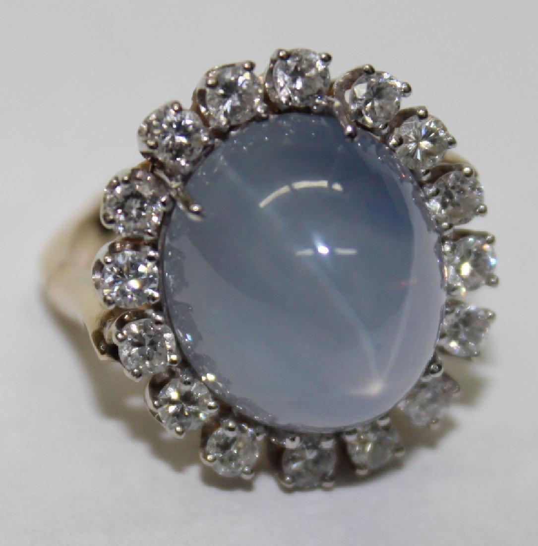 Yellow Gold, Diamond & Star Sapphire Ring