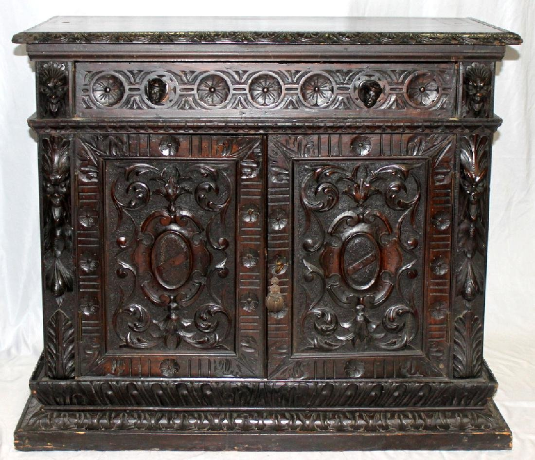 Antique European Hand Carved Two Door Cabinet