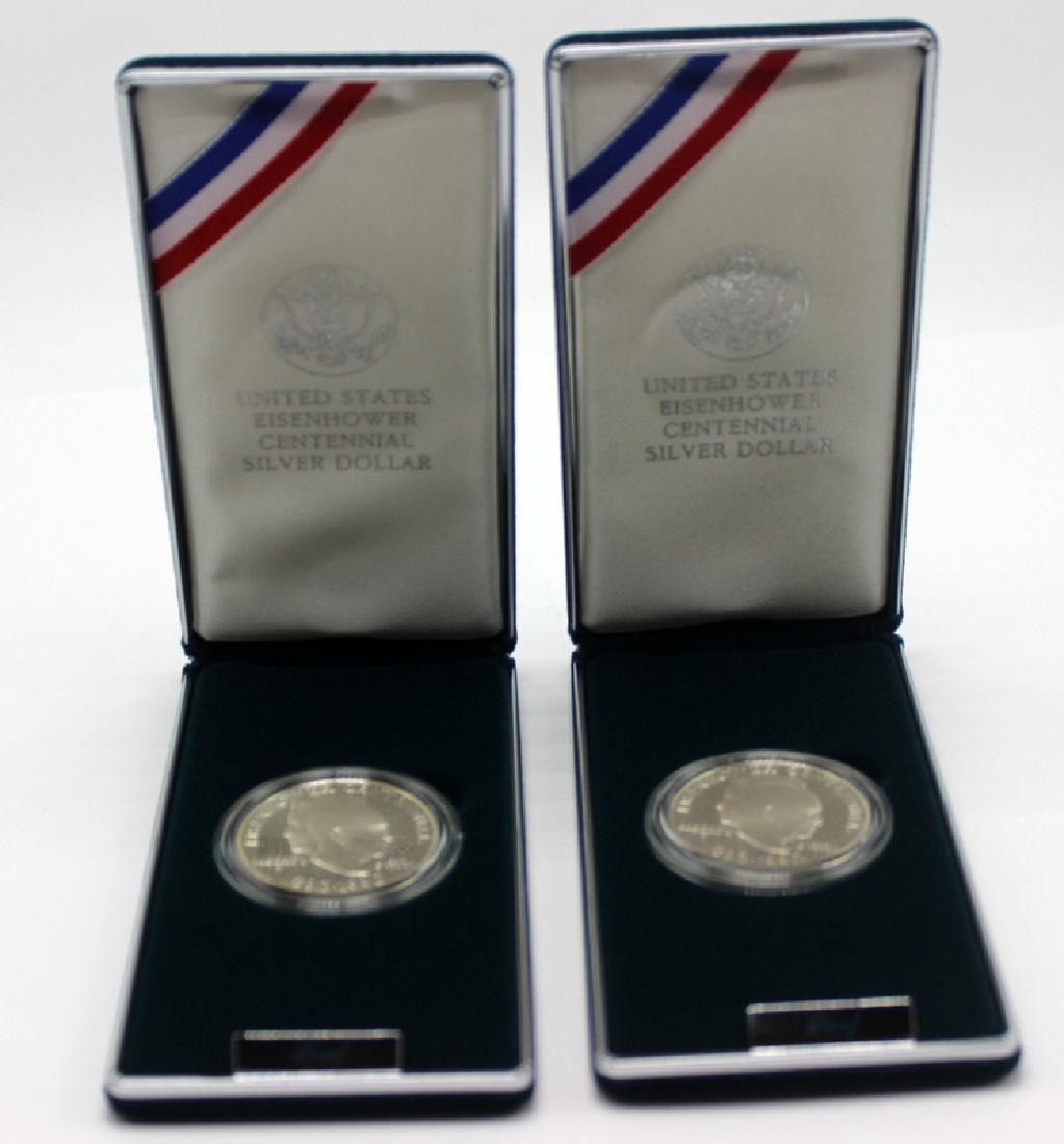 (4) Eisenhower Centennial Silver Dollars