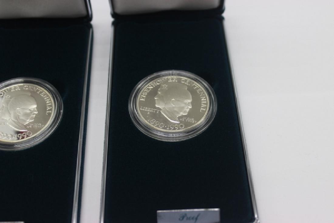(4) Eisenhower Centennial Silver Dollars - 2