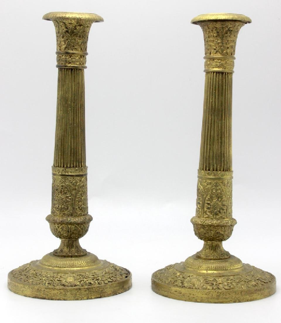 Pair of French Bronze Candlesticks